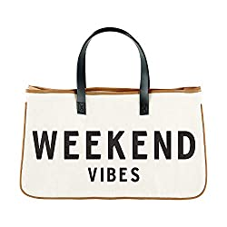 Divine Style Amazon women's summer essentials, weekend vibes black and tan tote bag