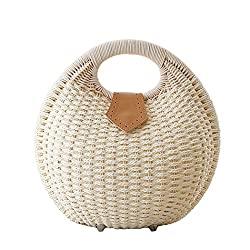Divine Style Amazon women's summer essentials, white straw shell shape handbag