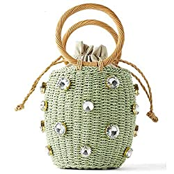 Divine Style Amazon women's summer essentials, green crystal diamond straw handbag