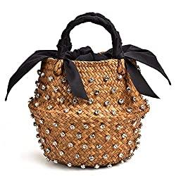 Divine Style Amazon women's summer essentials, embellished woven bucket bag
