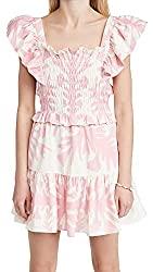 Divine Style Amazon women's summer essentials, SEA Women's Henrietta Print Short Sleeve Smocked Dress