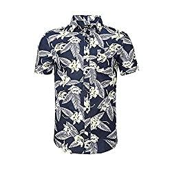 Divine Style Amazon Men's Summer Essentials, men's navy palm leaf print Hawaiian short sleeve shirt