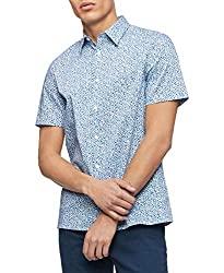 Divine Style Amazon Men's Summer Essentials, Calvin Klein Men's Short Sleeve Button Down Stretch Cotton Shirt kinetic blue print