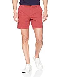 "Divine Style Amazon Men's Summer Essentials, oodthreads Men's 7"" Inseam Flat-Front Comfort Stretch Chino Short Brick Red"