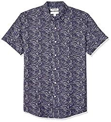 Divine Style Amazon Men's Summer Essentials, Goodthreads Men's Standard-Fit Short-Sleeve Linen and Cotton Blend Shirt swan print gray
