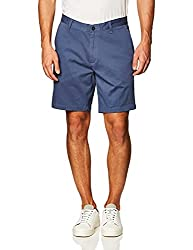 Divine Style Amazon Men's Summer Essentials, Nautica Men's Classic Fit Flat Front Stretch Solid Chino Deck Short blue indigo