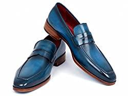 Divine Style Amazon Men's Summer Essentials, Paul Parkman Men's Penny Loafer Blue & Turquoise Calfskin Shoes