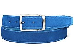 Divine Style Amazon Men's Summer Essentials, rkman PAUL PARKMAN Men's Blue Suede Belt
