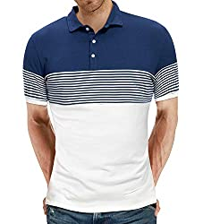 Divine Style Amazon Men's Summer Essentials, YTD Men's Short Sleeve Polo Shirts Casual Slim Fit Contrast Color Stitching Stripe Cotton Shirts